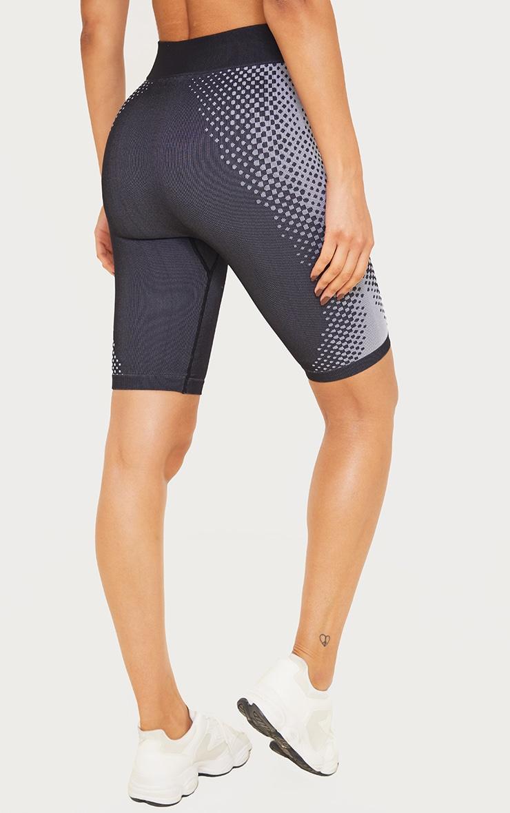Black Contour Dot Seamless Bike Shorts 3