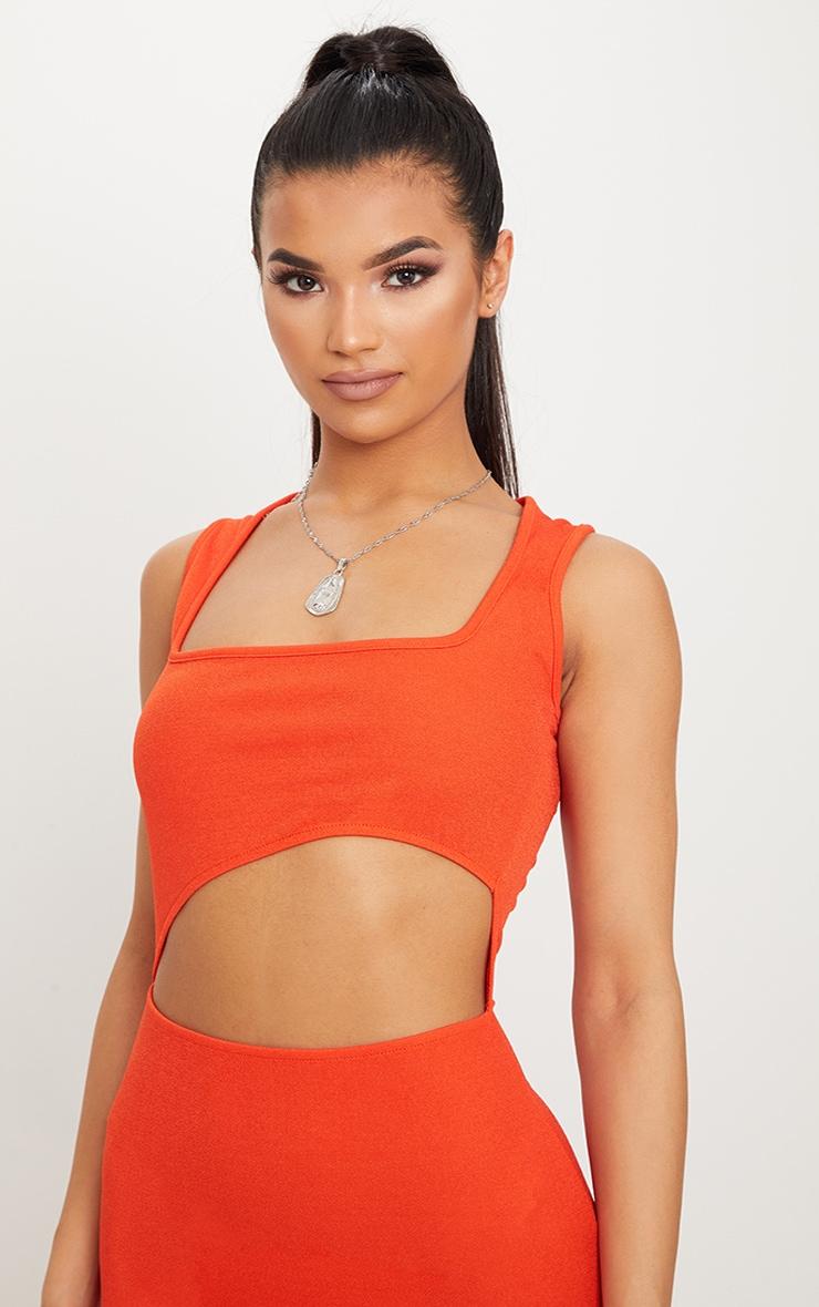 Bright Orange Square Neck Cut Out Midi Dress 5