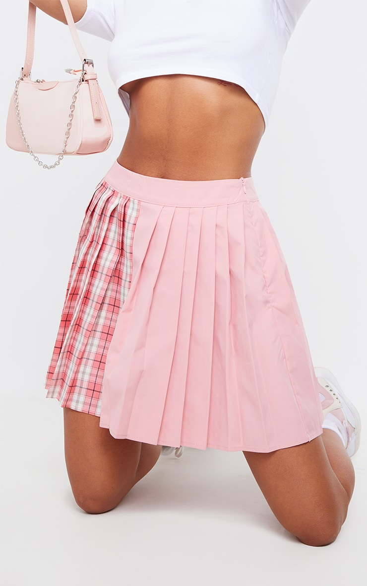 Pink Check Woven Pleated Skater Skirt 5