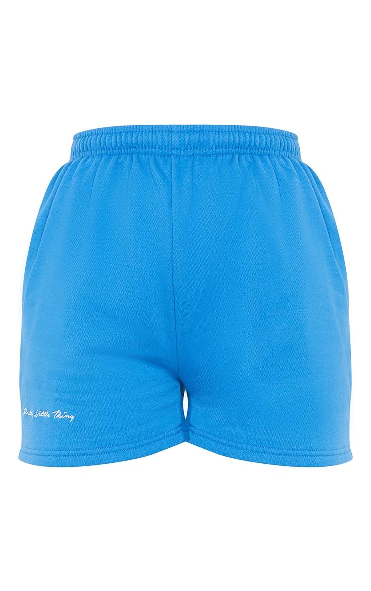 PRETTYLITTLETHING - Short en sweat bleu cobalt à slogan brodé 6