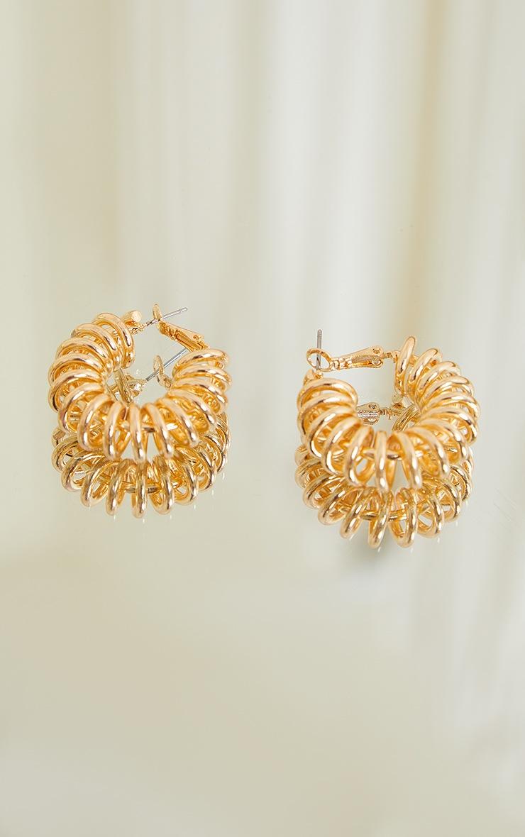 Gold Ribbed Coil Hoop Earrings 2