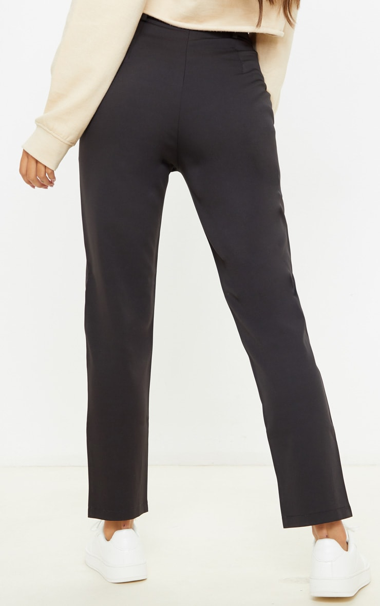 Black Belted Tapered Leg Pants 4