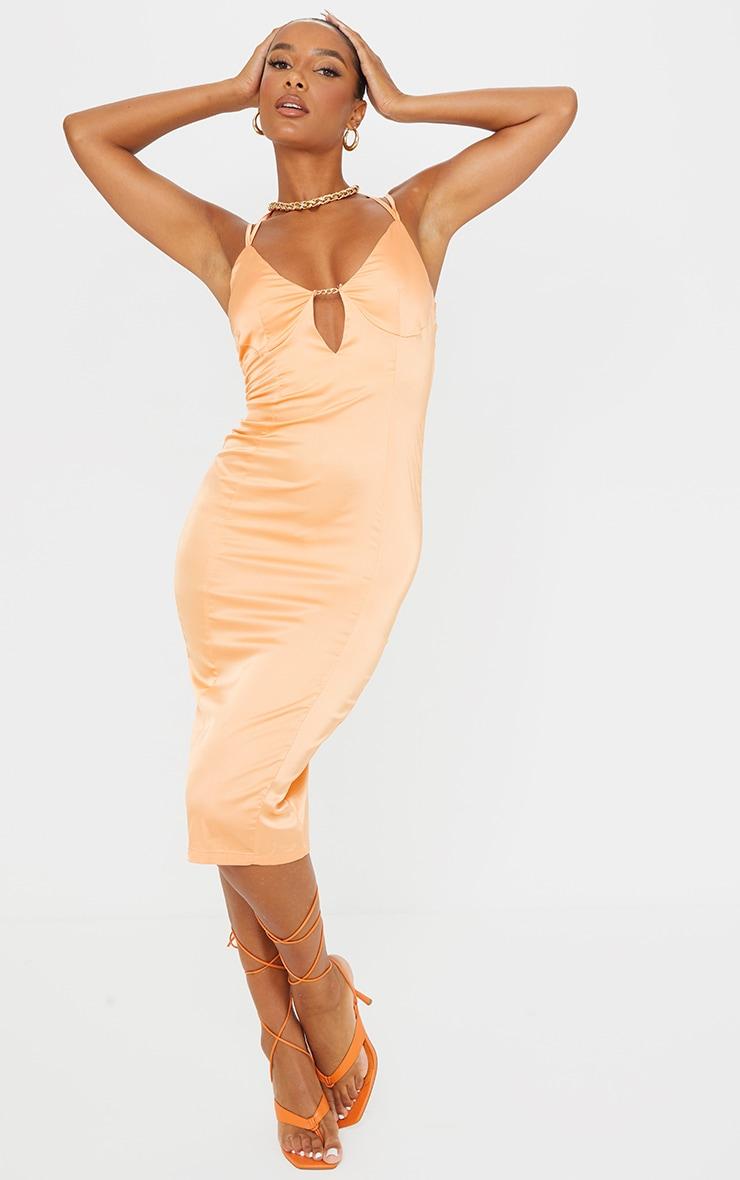Orange Satin Strappy Halterneck Detail Split Hem Midi Dress 1