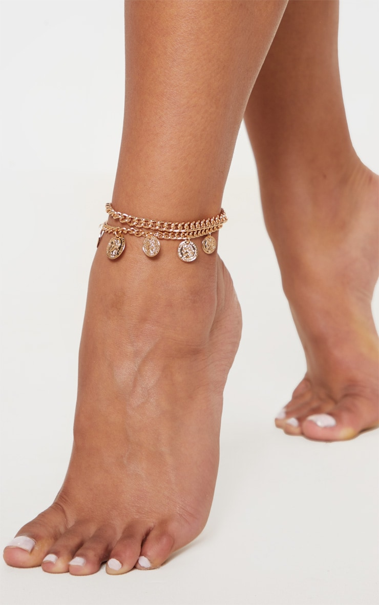 Gold Multi Coin Charm Double Layer Anklet 1