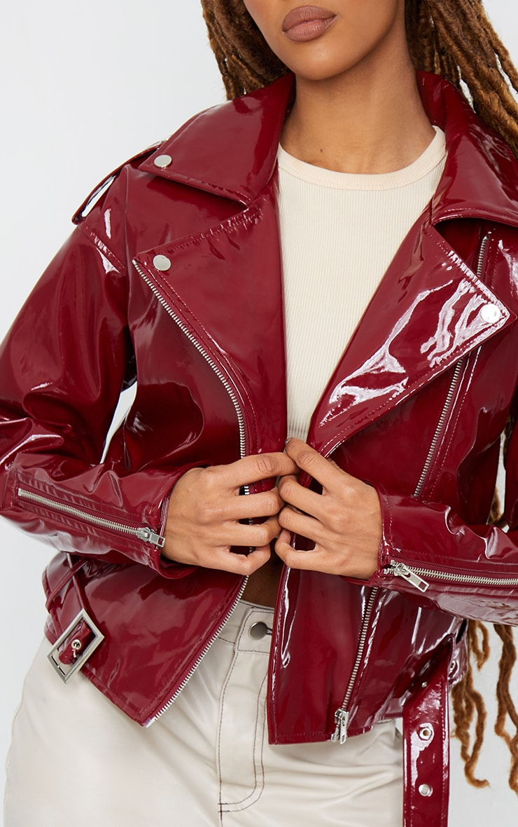 Burgundy Vinyl Zip Up Belted Jacket 4