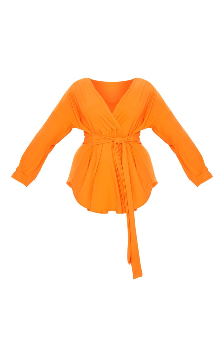 Plus Orange Tie Waist Blouse 3