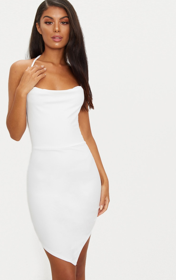 White Cowl Neck Pointy Hem Bodycon Dress 2