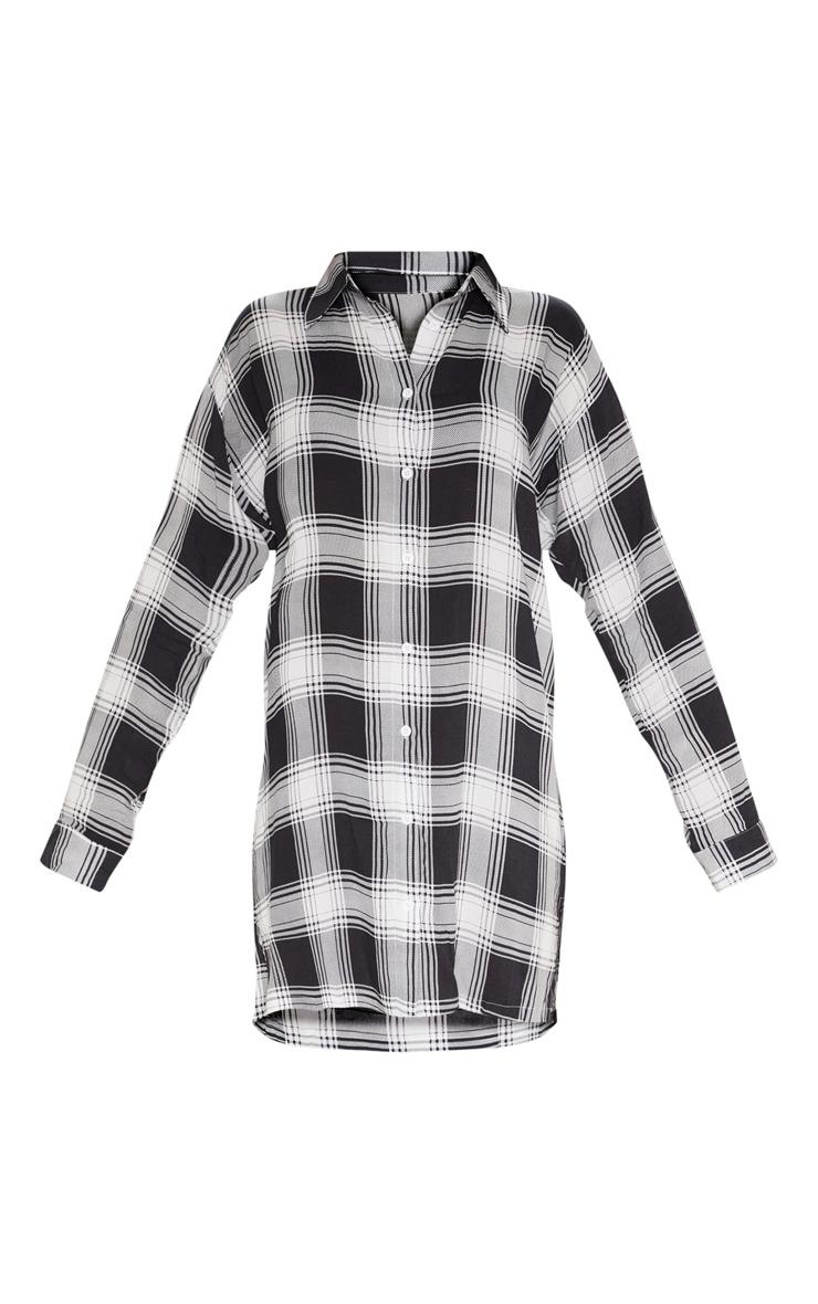 Black Oversized Checked Lightweight Shirt Dress 3