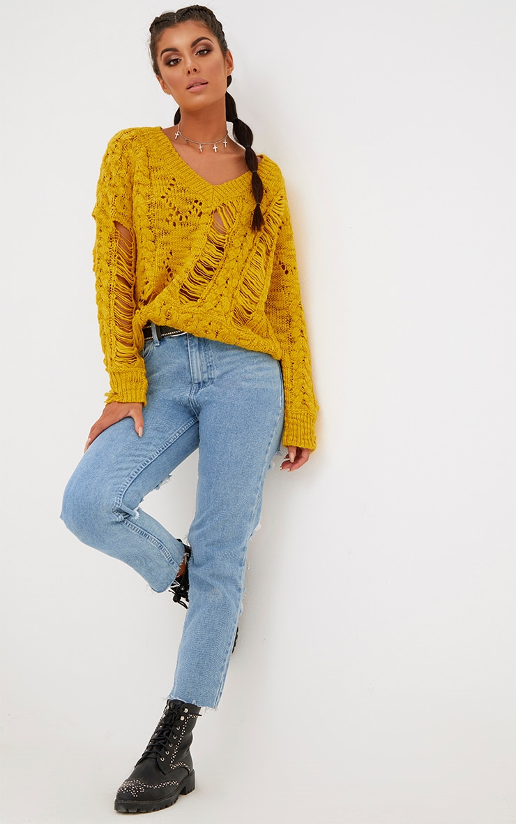 Yellow Super Ladder Distress V Neck Jumper 1