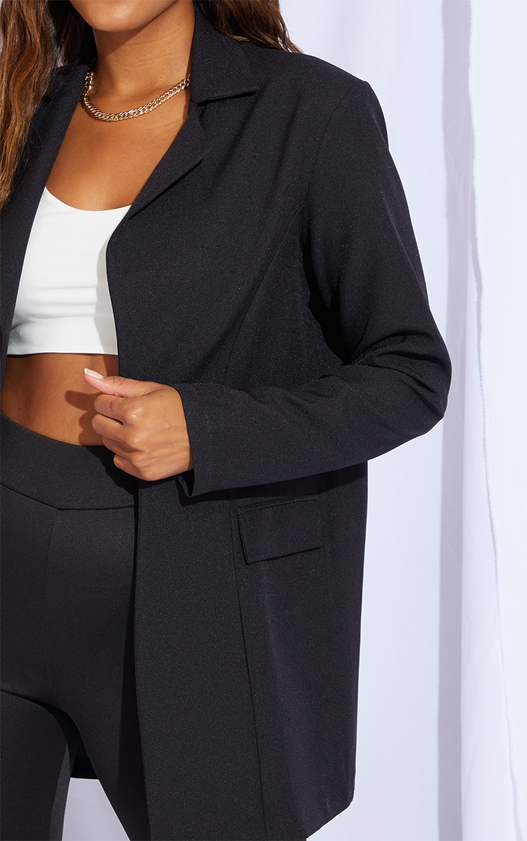 Black Woven Fitted Longline Blazer 4