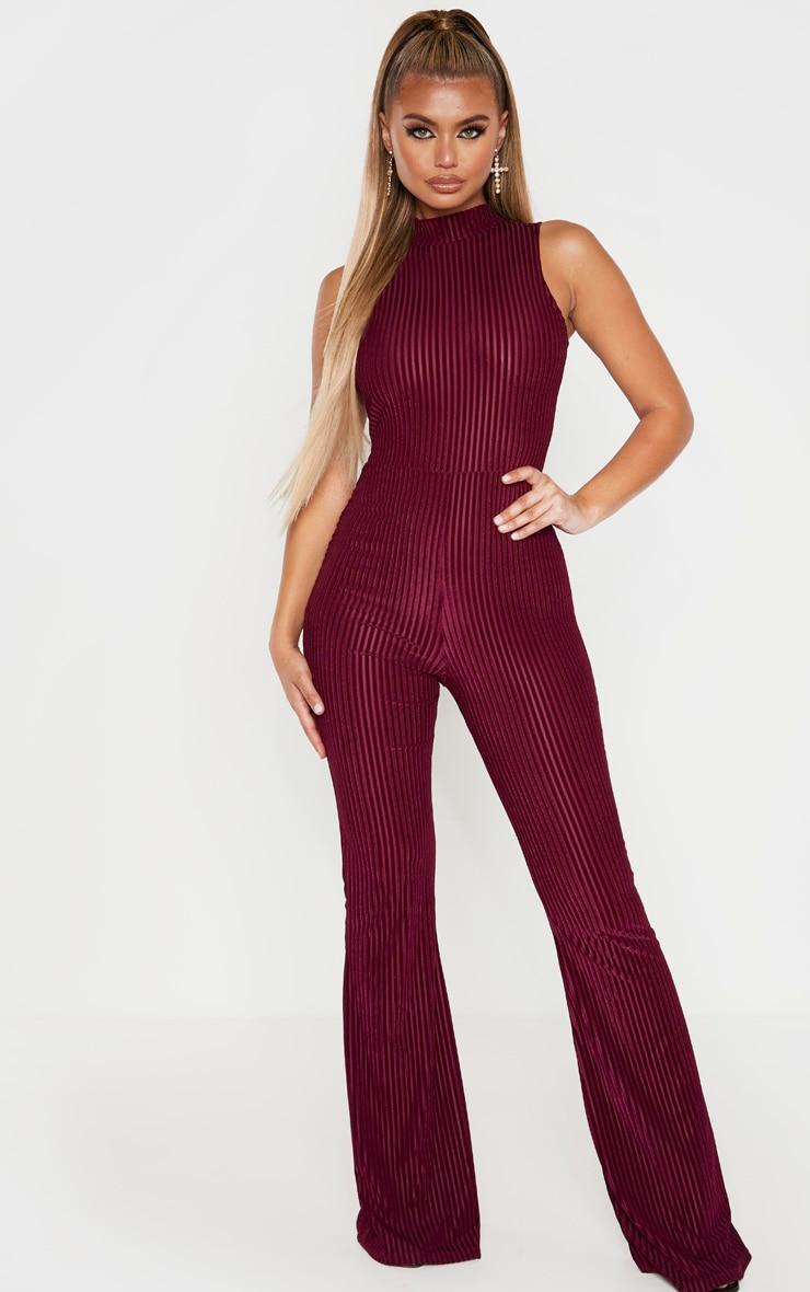 Burgundy High Neck Striped Velvet Jumpsuit 1