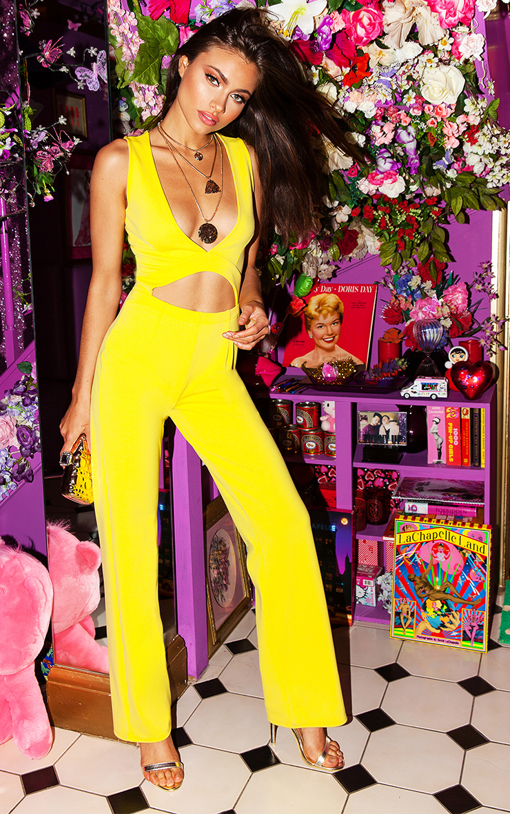 Yellow Plunge Cut Out Jumpsuit 1