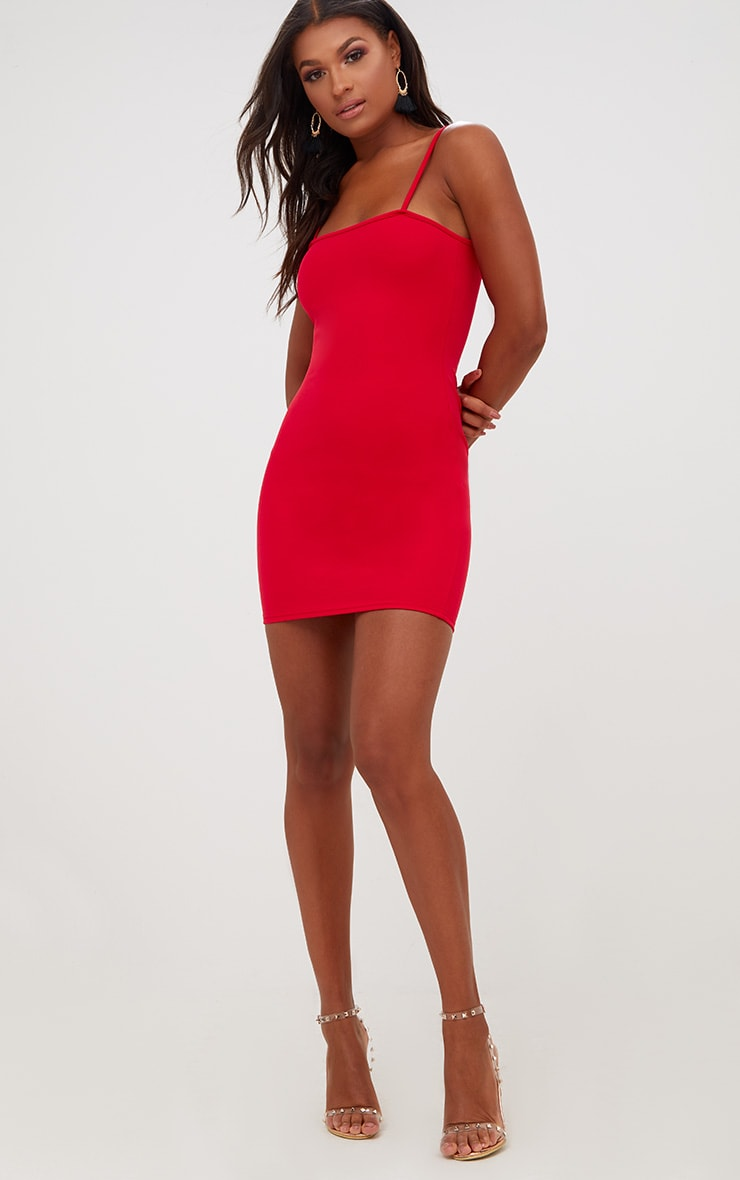Red Straight Neck Bodycon Dress 4