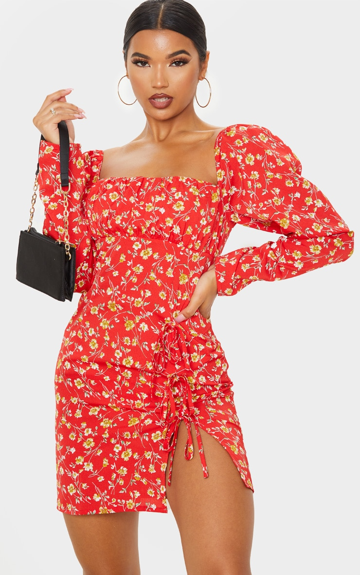 Red Ditsy Floral Bow Detail Side Split Bodycon Dress 1