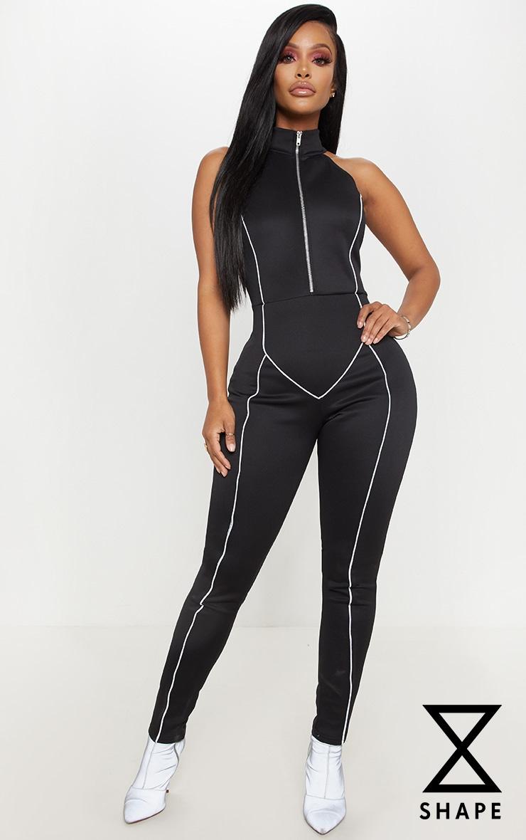 Shape Black Binding Detail High Neck Jumpsuit  1