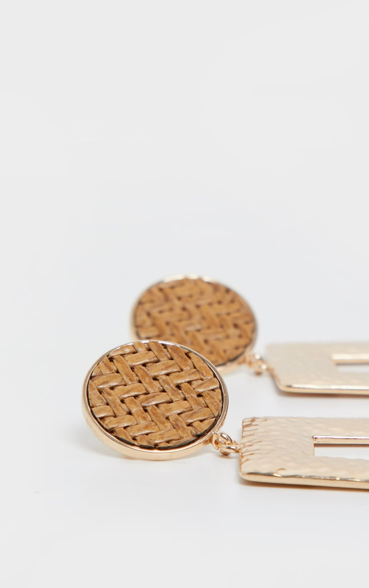 Gold Woven Raffia Stud Door Knocker Earrings 3