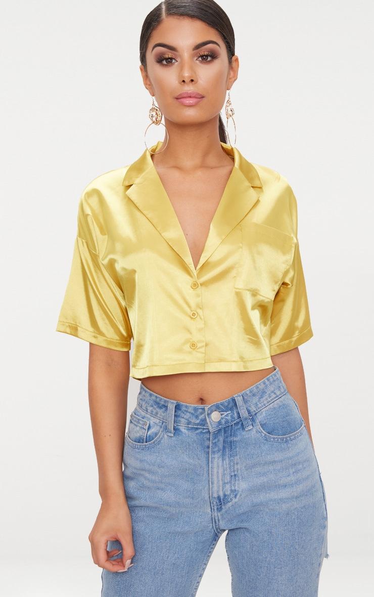 Chartreuse Satin Short Sleeve Crop Shirt  1