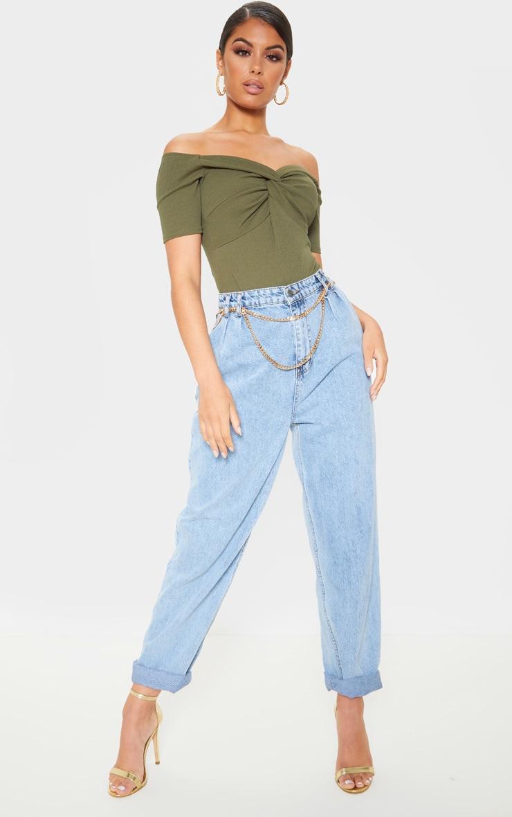 Khaki Bardot Twist Front Bodysuit 4