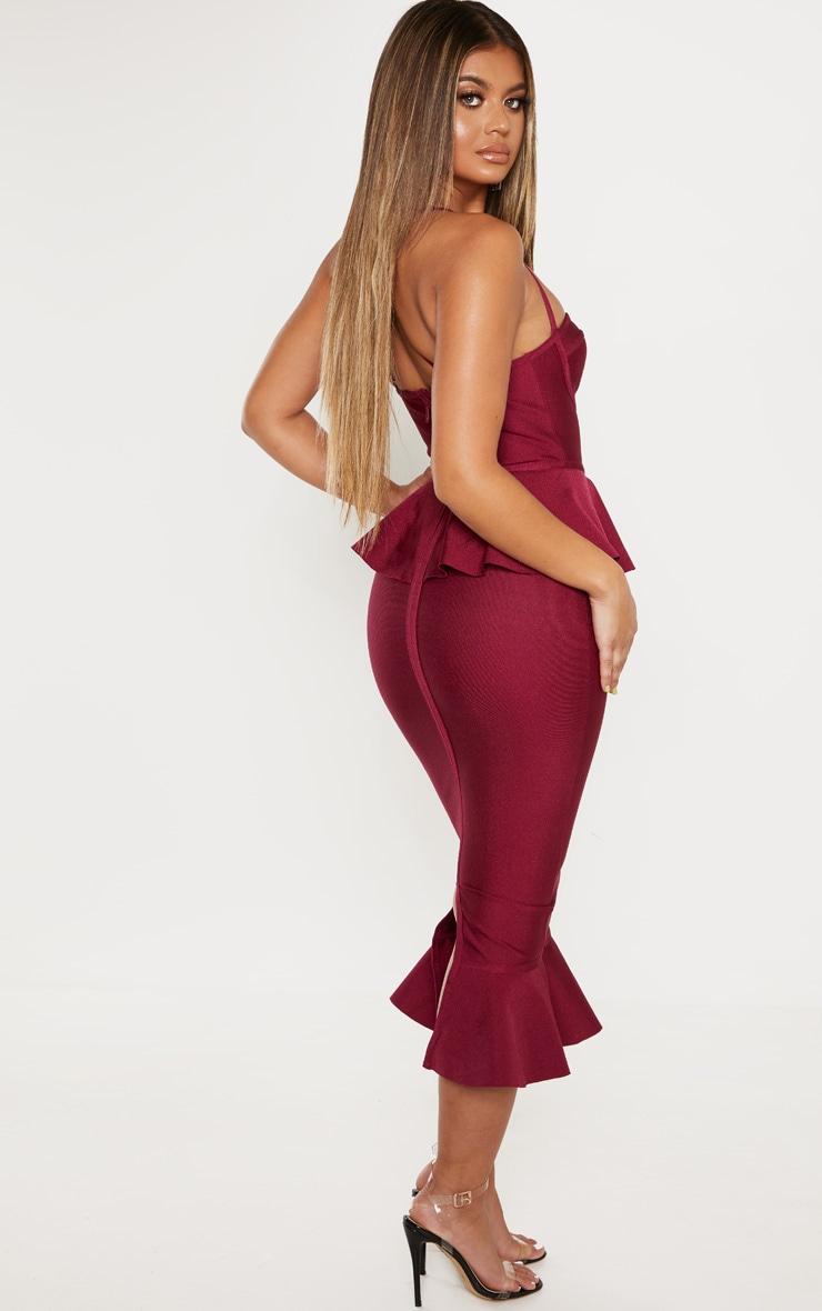 Berry Strappy Peplum Frill Hem Bandage Midi Dress 2