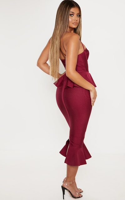 Berry Strappy Peplum Frill Hem Bandage Midi Dress