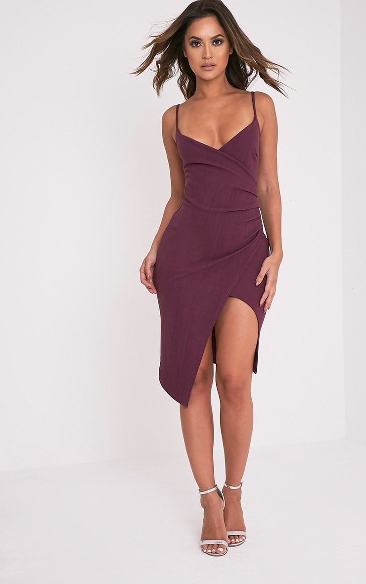 Lauriell Aubergine Wrap Front Crepe Midi Dress 1