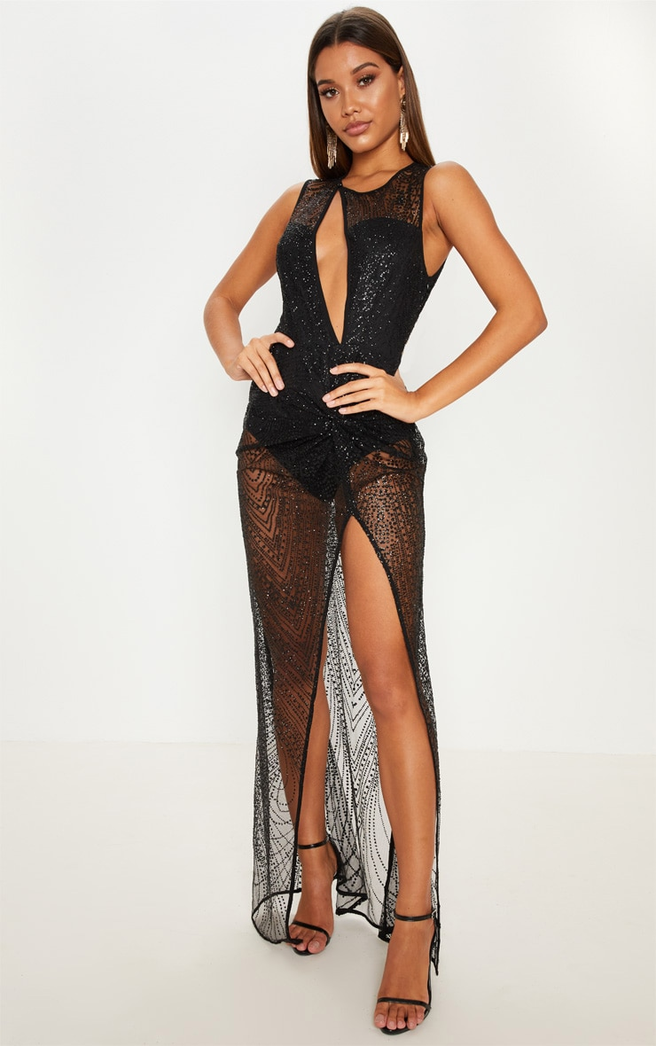 Black  Glitter Sheer Extreme Split Maxi Dress 1