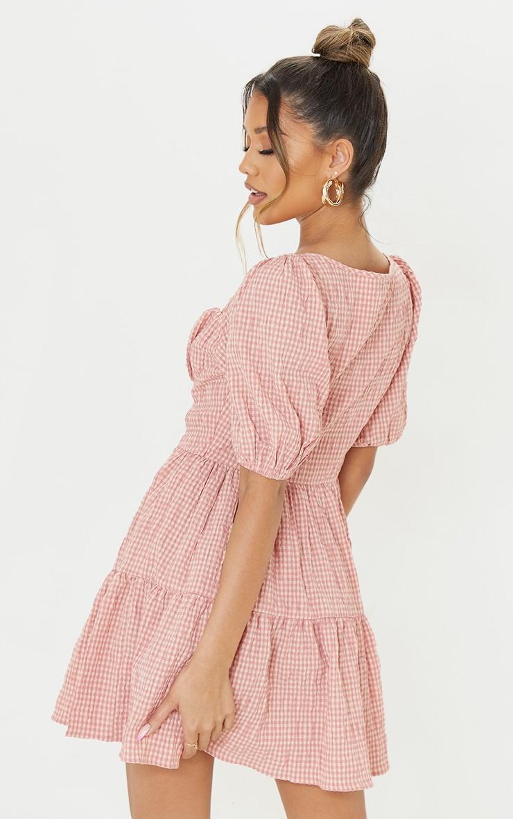 Pink Gingham Print Crinkle Underbust Detail Tiered Smock Dress 2