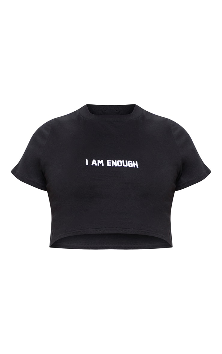 Black I Am Enough Slogan Crop T Shirt 3