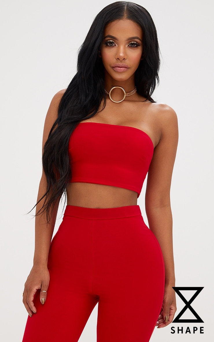 Shape Red Bandeau Crop Top  1