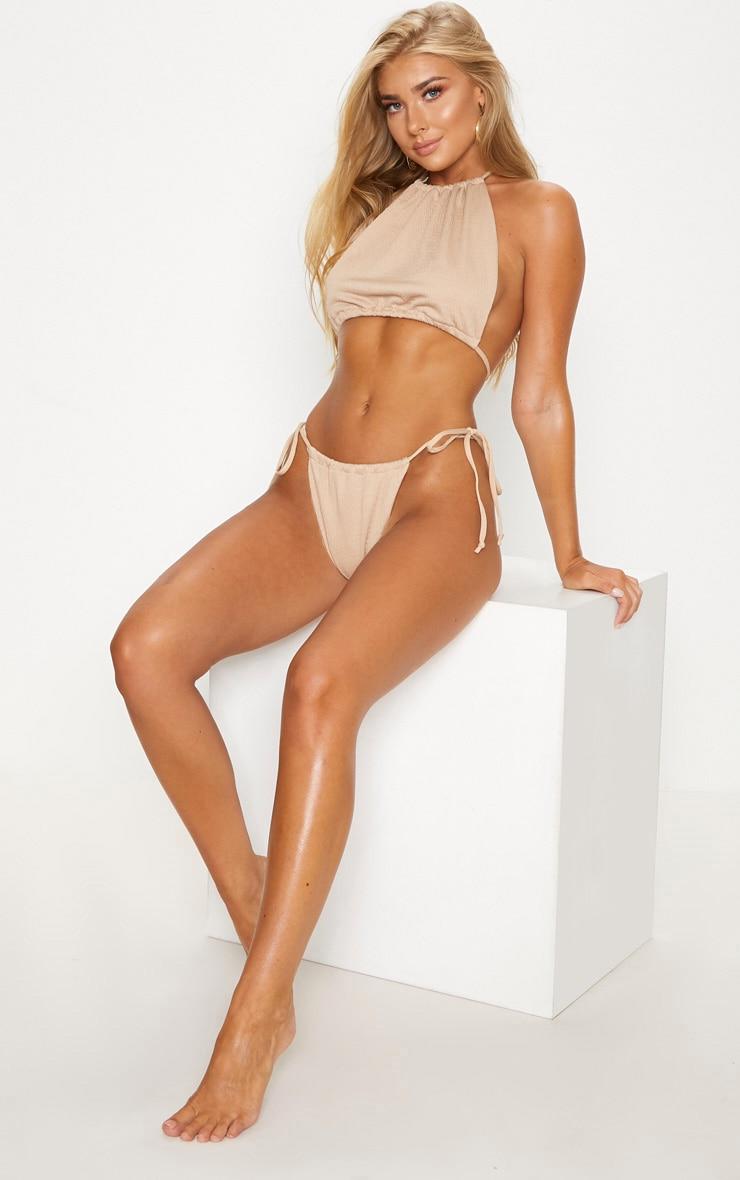 Stone Crinkle High Neck Bikini Top