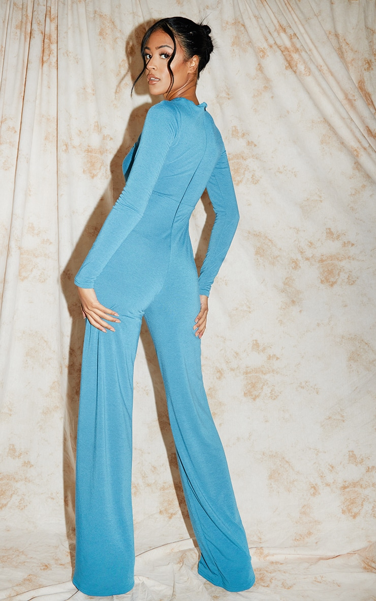Recycled Tall Blue Contour Jersey Under Bust Wide Leg Jumpsuit 2
