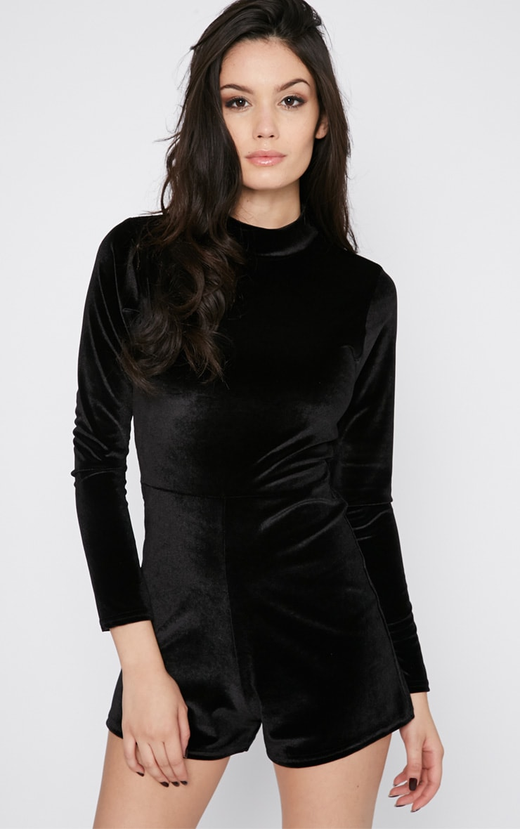 Sylvie Black Velvet Playsuit  1