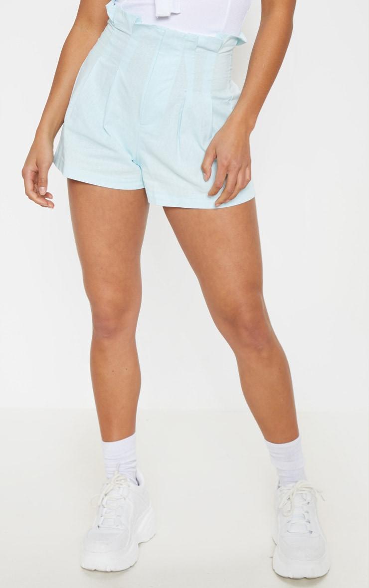 Petite Dusty Blue Dart Detail High Waist Shorts 2