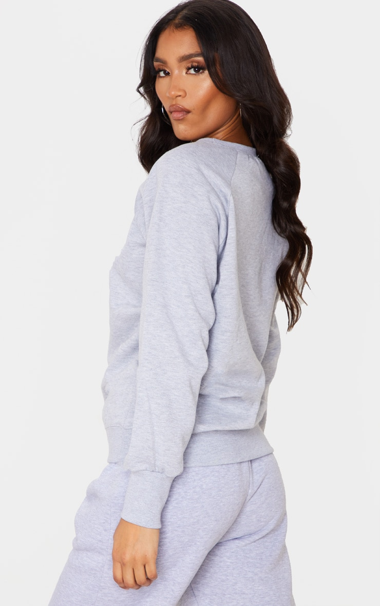 Basic Ash Grey Crew Neck Sweater 2