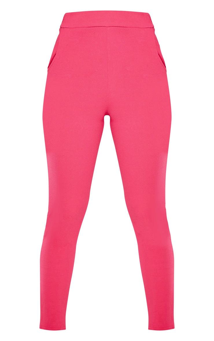 Bright Pink Crepe Skinny Pants 3
