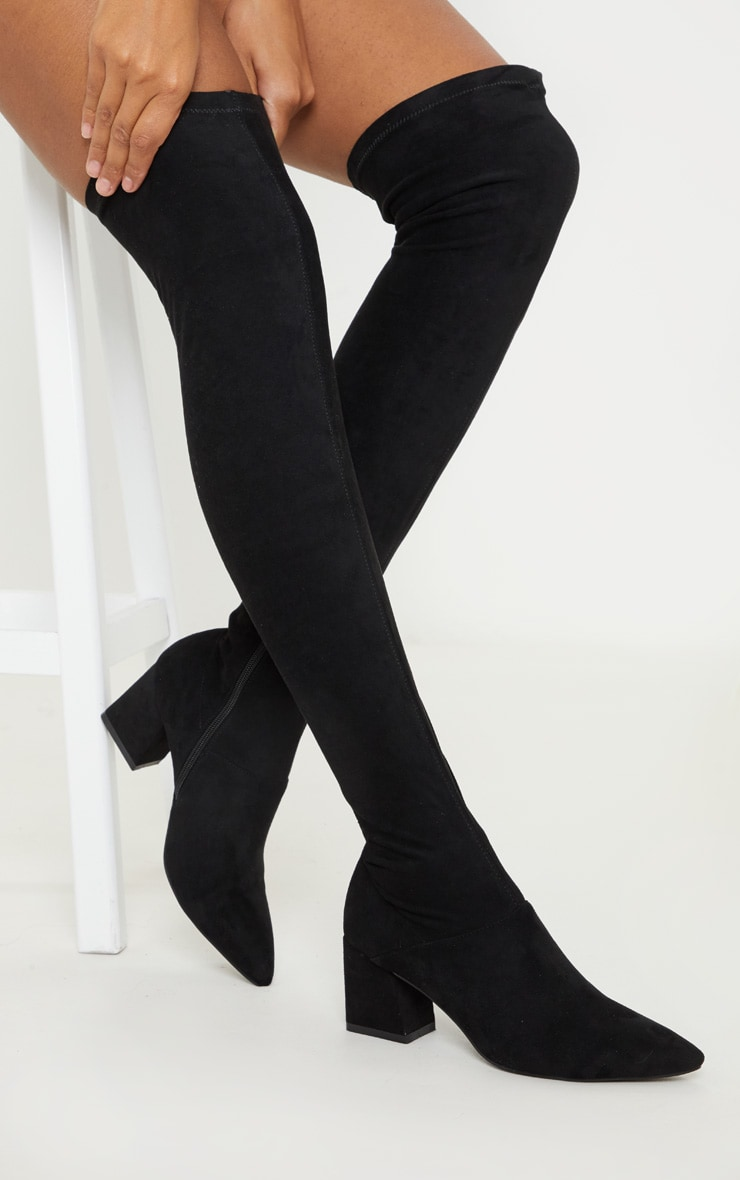 Black Low Block Heel Knee Boot