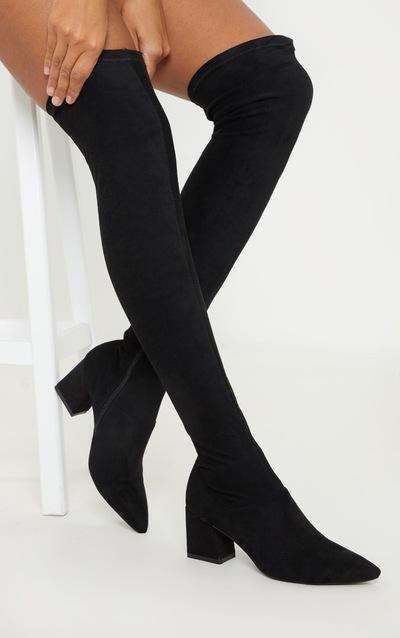 Black Low Block Heel Knee Boot