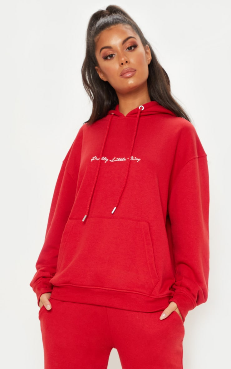 Prettylittlething Red Embroidered Oversized Hoodie by Prettylittlething