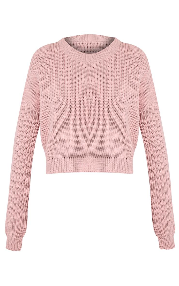 Cara pull court tricoté rose pâle 3