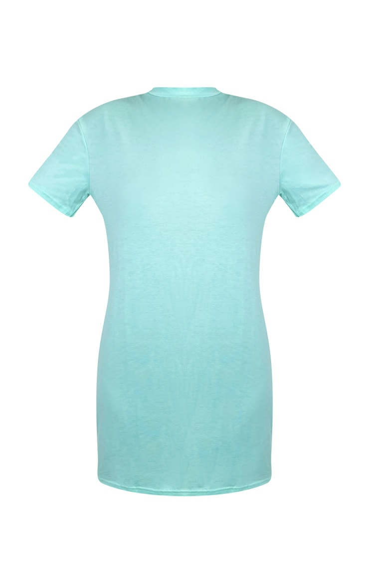 Mint Marl Basic Fitted T Shirt Dress 5