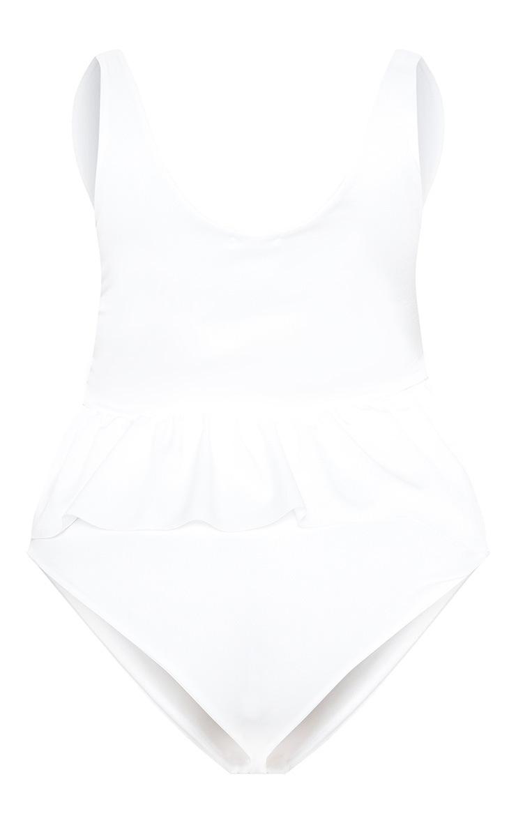 Plus White Frill Waist Swimsuit  4