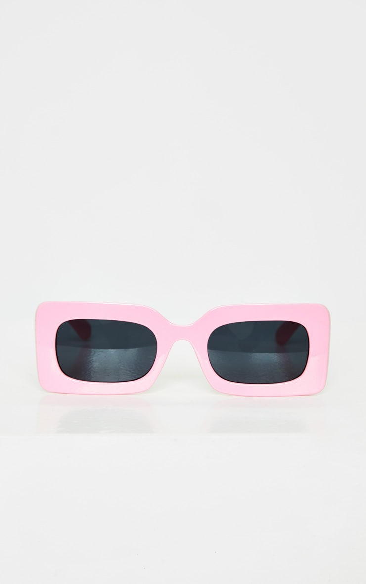 Baby Pink Chunky Square Frame Sunglasses 2