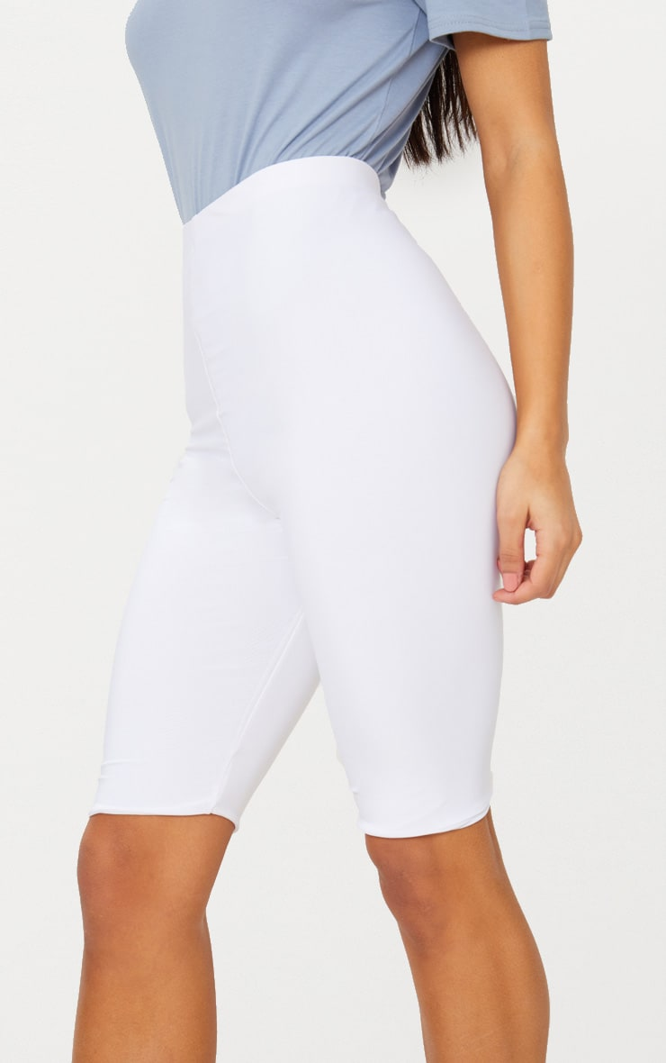White Slinky Longline Bike Short  6