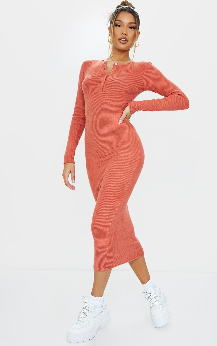 Terracotta Brushed Rib Button Front Midaxi Dress 3