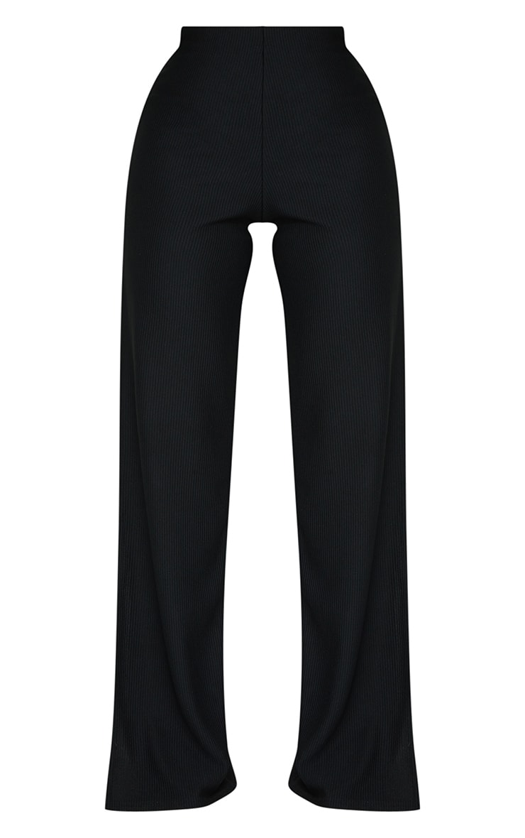 Black Wide Rib Split Side Pants 5