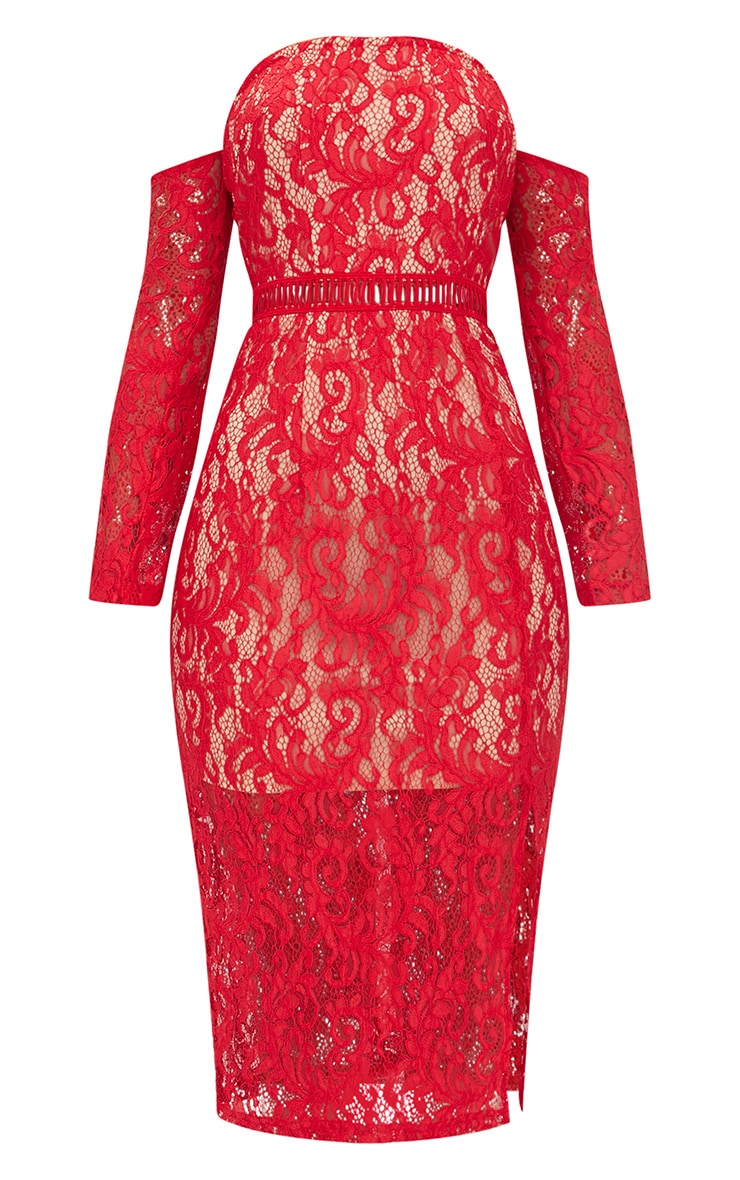 Red Lace Bardot Split Detail Midi Dress  3