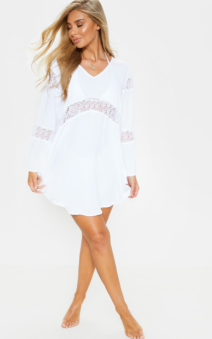 White Oversized Crochet Trim Beach Tunic 3