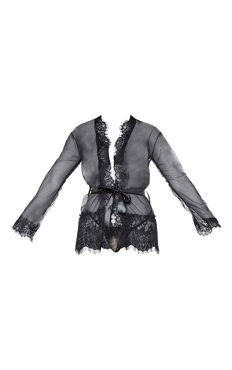 Black Mesh And Lace Sheer Robe And Knicker Set  3