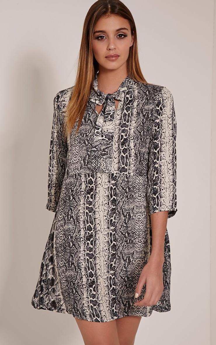 Candice Snake Print Tie Neck Oversized Swing Dress 1
