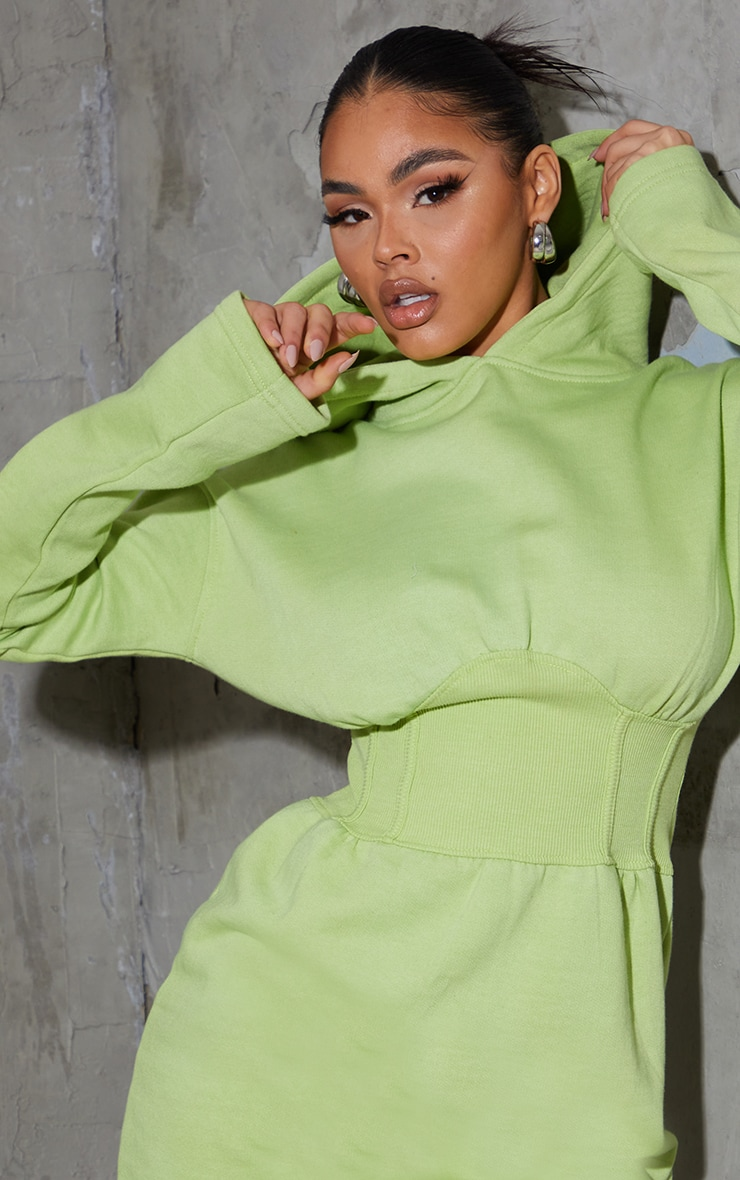 Washed Lime Ribbed Binding Waist Detail Hooded Jumper Dress 4